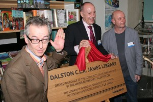 Acclaimed writer Nick Hornby (r) was on hand for the opening on the Dalston CLR James library on Tues., Feb. 28. Also pictured: Hackney mayor Jules Pipe (c) and poet John Hegley (l)