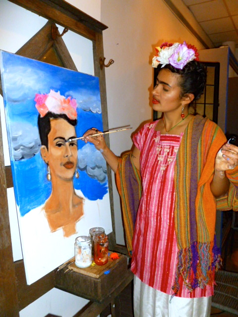 Pia Cabble as Khalo, painting a self portrait (taken by Rae)