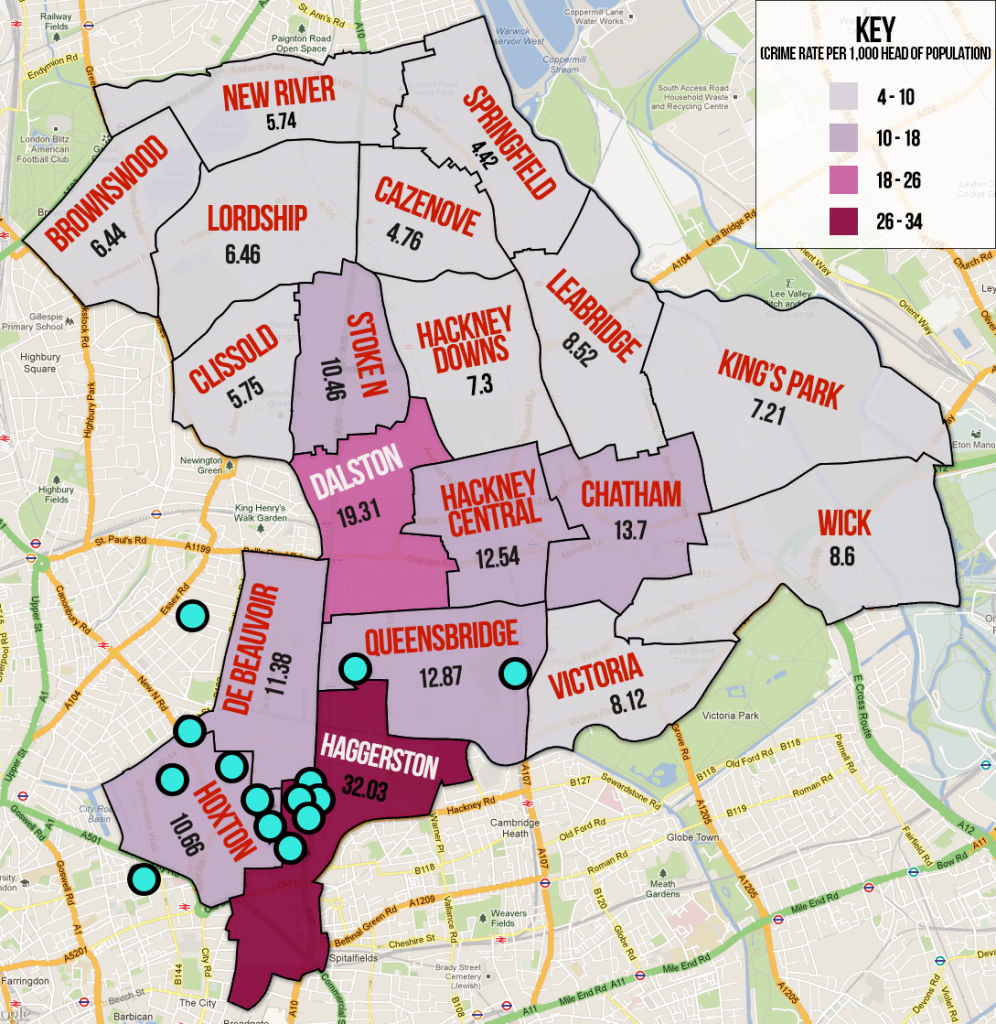 Hackney Crime rates for each ward, mapped against the locations of those arrested under Operation Haka.