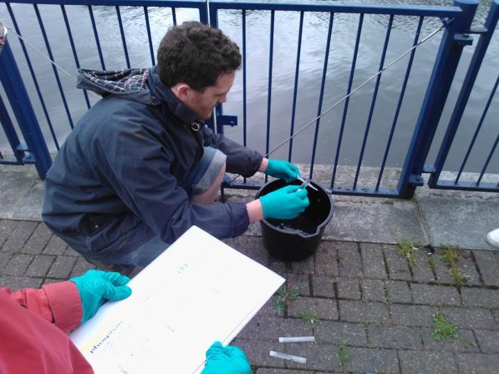 Adam McAlavey measures the pollution in the River Lea