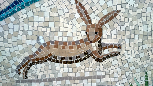 A rabbit portrayed in the mosaic in Hackney