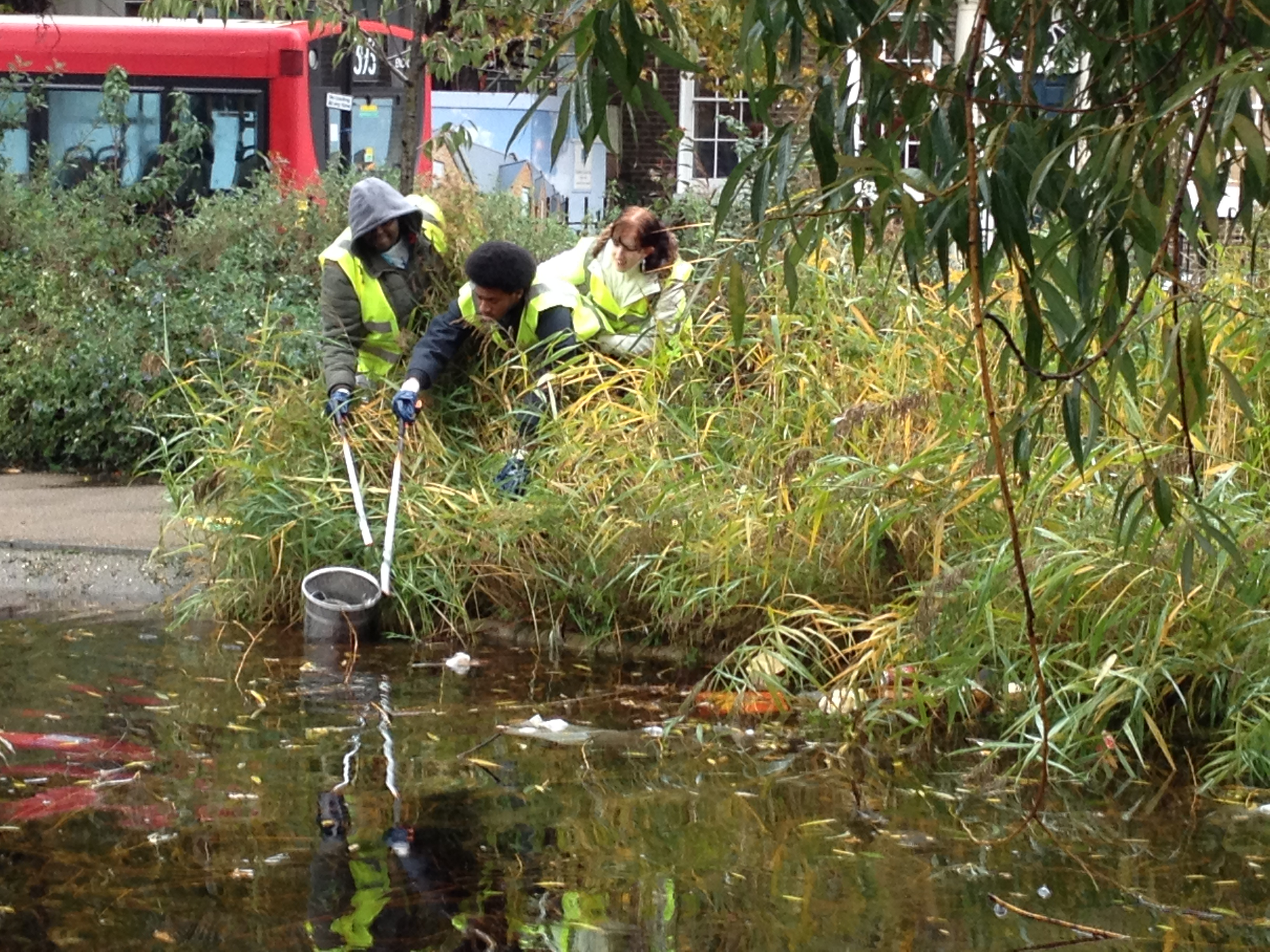 Students clean up Clapton pond. Photo: Nassos Stylianou