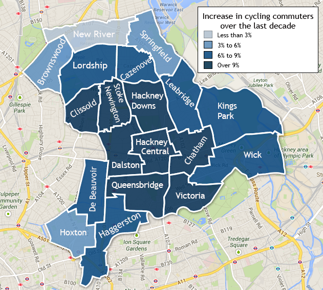 The change in cycling commuters over the last decade. Data Visualisation by Sophie Murray-Morris