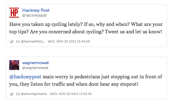 the Hackney Post asked their readers what their cycling concerns were over Twitter