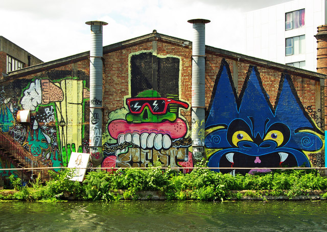 Graffitit on Fish Island Hackney Wick. Image: Julian Osley