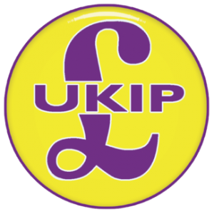 "Logo for the populist right-wing party UKIP, showing a purple pound sign superimposed on a yellow circle, with ""UKIP"" written across the middle"