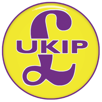 """Logo for the populist right-wing party UKIP, showing a purple pound sign superimposed on a yellow circle, with """"UKIP"""" written across the middle"""