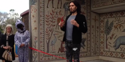 Russell Brand unveils mosaic