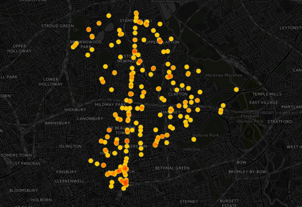 Mapped: Hackney's worst roads for cycling