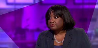 An image of Diane Abbott reacting to claims that Nigel Farage does not mean what he says.