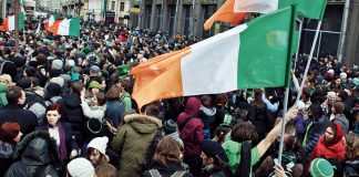 An image showing a crowd on St. Patrick's Day.