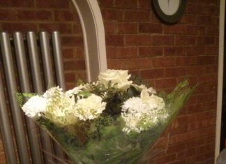 The flowers sent to Janice Taylor by Leyton Orient player Andrea Dossena.