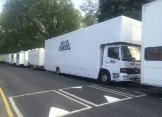 Production vans at the filming of Crashing in Hackney Downs