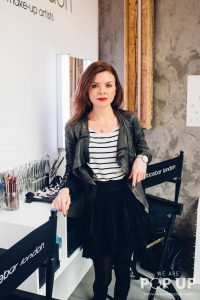 Nicola Fiveash at make-up pop-up Face Bar in Shoreditch