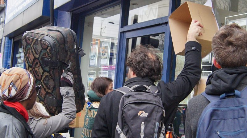 Protestors stormed letting agents in central Hackney