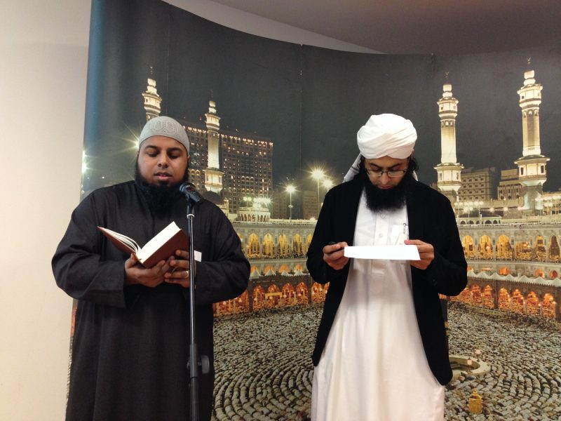 Two speakers at the open day explaining Islam