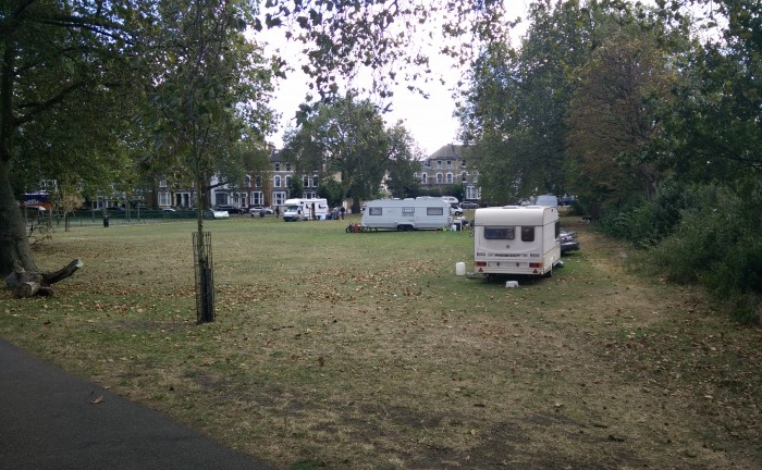 Five caravans were parked on Stoke Newington Common in late September, sparking a local row