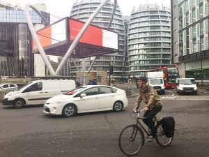 Bike safety: cyclist in Old Street, Hackney